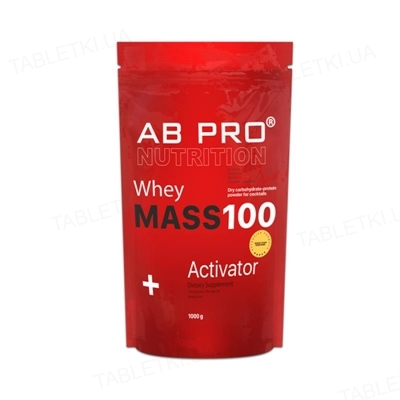 Гейнер AB PRO MASS 100 Whey Activator, клубника, 1000 г