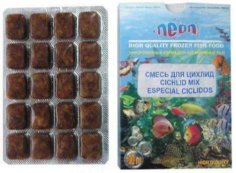 Корм для аквариумных рыб Neon Смесь для цихлид, замороженный, 100 мл