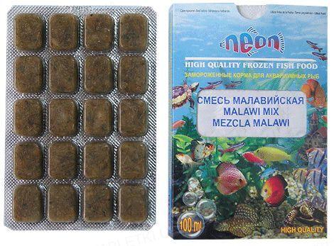 Корм для аквариумных рыб Neon Смесь Малавийская, замороженный, 100 мл