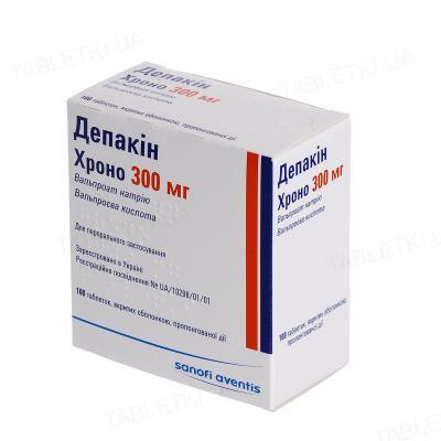 Депакин хроно 300 мг таблетки, п/о, прол./д. по 300 мг №100 (50х2) в конт.