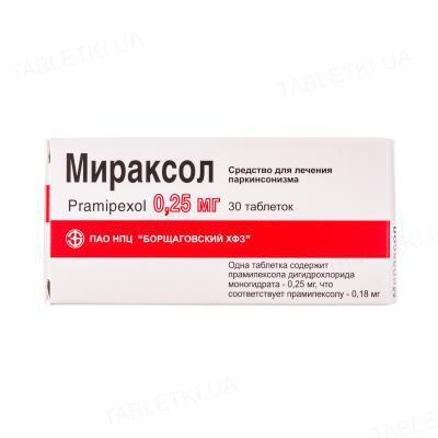 Мираксол таблетки по 0.25 мг №30 (10х3)