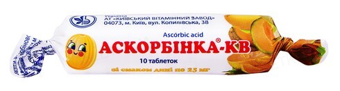 Аскорбінка-КВ таблетки зі смак. дині по 25 мг №10 в етикет.