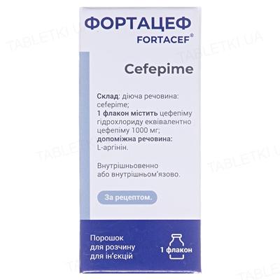 Фортацеф порошок для р-ра д/ин. по 1000 мг №1 во флак.