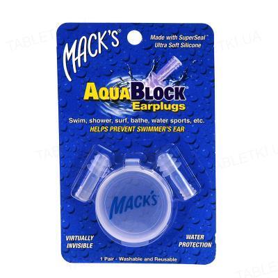 Беруши вкладки ушные AquaBlock 1131 силиконовые мягкие (защита от воды), прозрачные, 1 пара