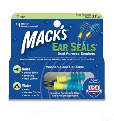Беруши вкладки ушные Ear Seals 11 защита от шума и воды, до 27 Дб, со шнуром, 1 пара