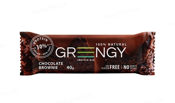 Батончик Greengy протеиновый Шоколадный брауни, 40 г