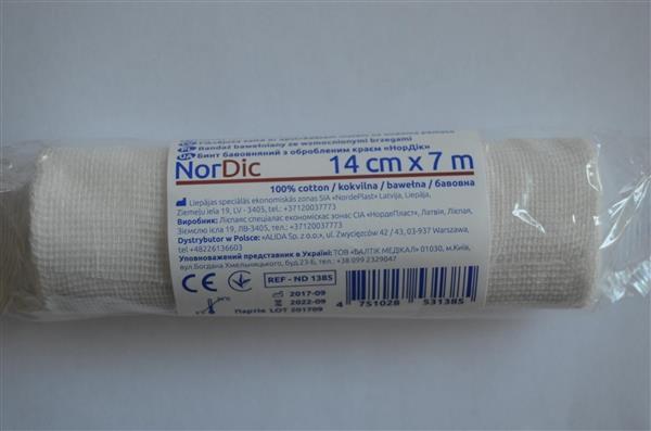 Бинт хлопчатобумажный Nordeplast НорДик с обработанным краем 14 см х 7 м