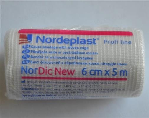Бинт фиксирующий Nordeplast НорДик Нью с обработанным краем 6 см х 5 м