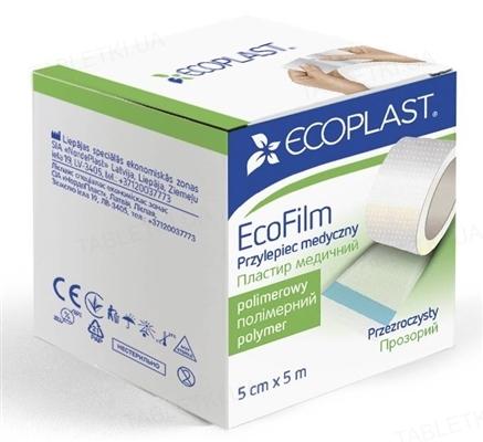 Пластырь медицинский Ecoplast EcoFilm (ЭкоФилм) на полимерной основе, водостойкий 5 см x 5 м, бумажн. упак.