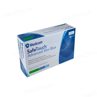 Перчатки смотровые Medicom SafeTouch Advanced Slim Blue нитриловые без пудры нестерильные, размер S, 50 пар